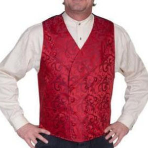*Sold* Scully Red Double Breasted Steampunk Vest L